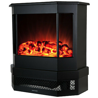 "23"" Modern Freestanding Portable Electric Heat Stove Fireplace Tempered Glass"