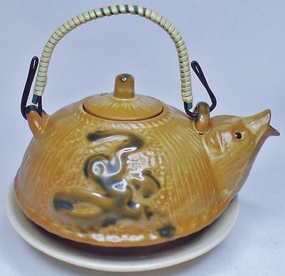 Fine Vintage Japanese Red Clay Animal Figure Character Tea Pot Teapot Signed