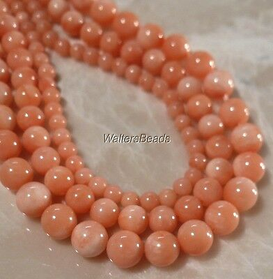 Natural Australian Sea Coral Peach Bead Strands Size Mix 3,4 & 5 MM (3 Strands)