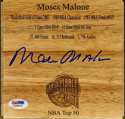 Moses Malone SIGNED Floorboard Houston Rockets 76ers RARE PSA/DNA AUTOGRAPHED