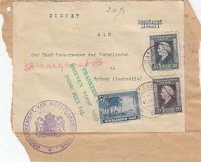 Stamps Netherland Indies various issues on parcel label sent Australia cachet
