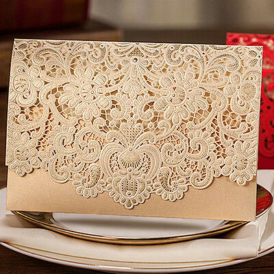 10 Gold Personalized Printing Wedding Invitation Cards With Red Envelopes+Seals