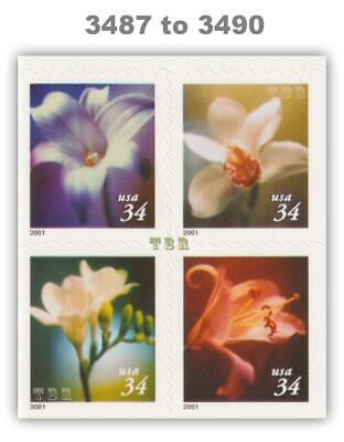 3487-90 3490 3490a Four Flowers 34c Block 4 Double-Sided Pane 2001 MNH - Buy Now