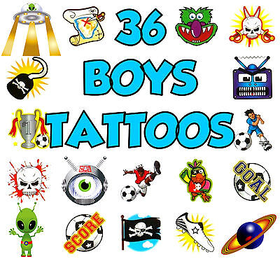 36 Boys Temporary Tattoos Children Toy Activity Prize Birthday Party Bag Fillers