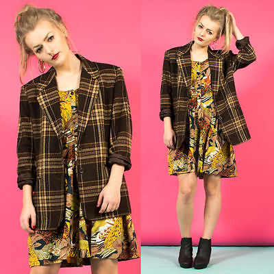 Womens Vintage 80's Country Hack Check Plaid Pattern Brown Blazer Jacket 16