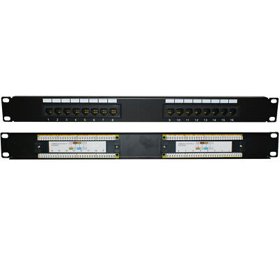 "QUALITY AT 16 Port/Way CAT6 Gigabit Patch Panel -1U 19"" Rack Mount-RJ45 Network"