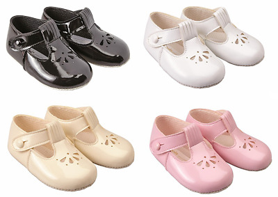 Shoes baby girl pram soft BAYPODS T bar black pink white cream Early Days