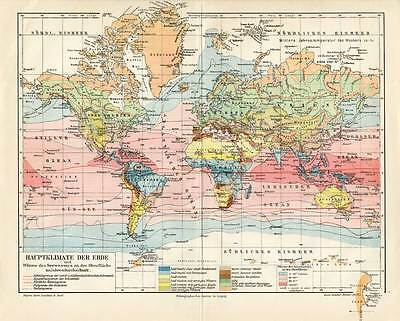Antique Map-CLIMATE ZONE-WORLD MAP-Meyers-1895