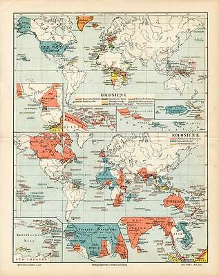 Antique Map-WORLD MAP-COLONIES-COLONY-Meyers-1895