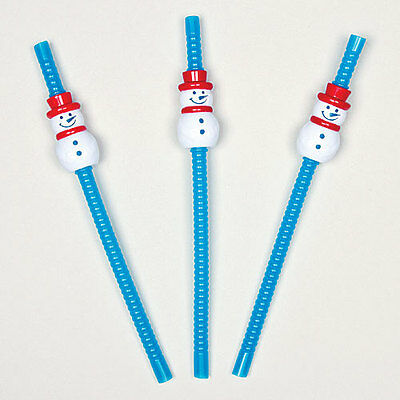 Snowman Bendy Straws - Perfect Stocking Filler for Children (Pack of 6)