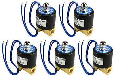 "5 LOT 1/4"" NPT Electric Brass Solenoid Air Water Valve NC 12V DC Pneumatic"