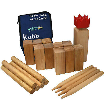 Garden Games Kubb Hardwood Skittles type Game with carry bag