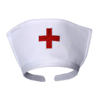 White Nurse Hat Headband with Red Cross ~ HALLOWEEN NURSE COSTUME ACCESSORY