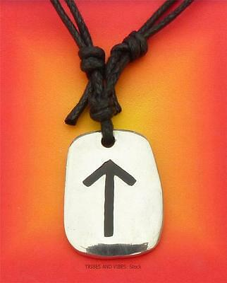 TEIWAZ Rune Pendant adjustable Necklace for Strength 2sides Tyr futhark Pagan