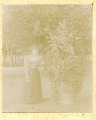 Old b/w cabinet photo young woman AUNT LYDIA ADAMS by plant / bush