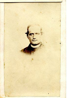 Old B/W photo CDV rugged priest in collar Dr. MacGregor