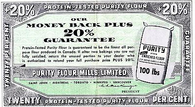 Old guarantee slip PURITY FLOUR ad CANADA NB QUE, ONT, BC , Man.