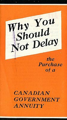Old booklet pamphlet CANADIAN GOVERNMENT ANNUITY purchase