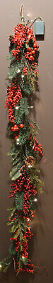 180cm Pre Lit Battery Operated Luxury Christmas Garland with Berries