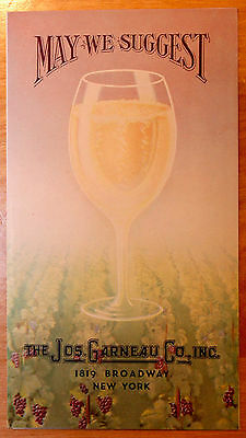 Orig 1934 Jos. Garneau Co. Inc. Champagne/Wine List Advertising Flyer Vintage