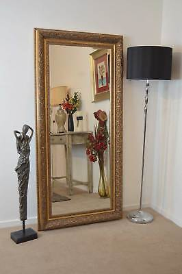 5ft10x2ft10 Bevel Antique Style Large Gold Wall Mounted Mirror Rectangle Resin