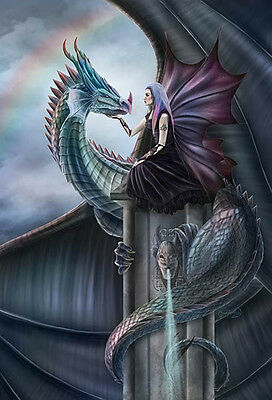 NEW CLARE BARTRAM IRIDESCENCE DRAGON FAIRY 3d PRINT PICTURE WITH FREE POSTAGE