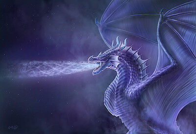 NEW * DRAGON * CLARE BARTRAM MYSTICAL 3d PRINT PICTURE WITH FREE POSTAGE