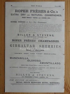 c1878 Advert JEROME SACCONE GIBRALTAR SHERRY & ROPER FRERES & Co CHAMPAGNES SALE