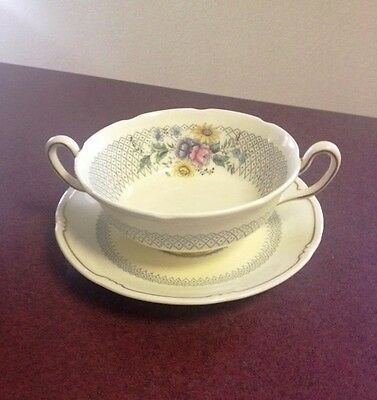 Royal Doulton China Burnham two handled soup bowl w/ saucer underplate  2pc set