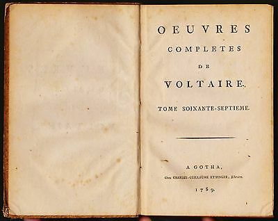 Oeuvres Completes Voltaire Printed in Gotha 1789 Vol. 67 Near Fine