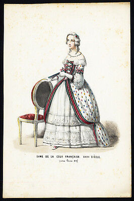 Antique Costume Print-LOUIS XV-LADY FRENCH COURT-18TH CENTURY-FRANCE-1850