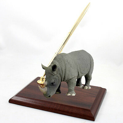 Realistic Hand Painted Cold Cast Stone Resin Rhinoceros on Desk Pen Holder