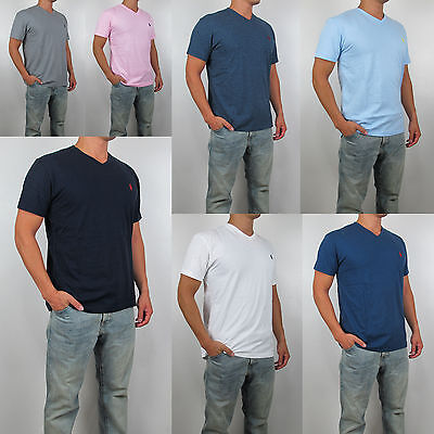 NWT Polo Ralph Lauren Men V Neck Classic Fit Short Sleeve Pony Logo Tee T Shirt