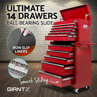 Giantz 14 Drawers Toolbox Chest Cabinet Mechanic Trolley Roller Tool Storage Box