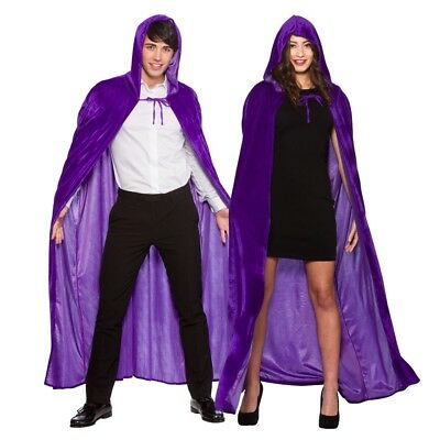 New Medieval Halloween Velvet Ladies Hooded Cape Mens Magician Witch Fancy Dress