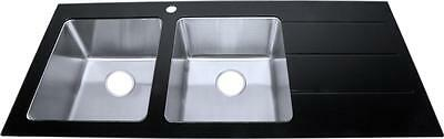 Black Glass & Stainless Steel Kitchen Sink Double Bowl And Drainer (GTS1200)
