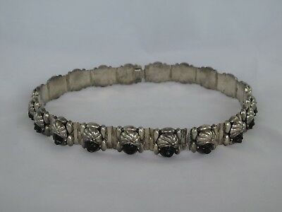 "Vintage Taxco Handmade Sterling & Carved Onyx 28"" Belt"