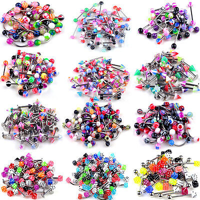 120PCS Wholesale Lots mixed lip piercing body jewelry Barbells rings Tongue Ring