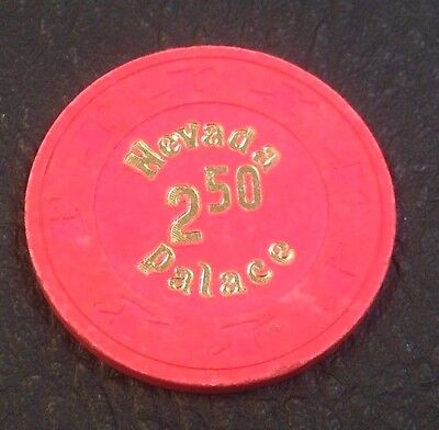 NEVADA PALACE $2.50 CASINO CHIP LAS VEGAS NEVADA H & C MOLD 1980's FREE SHIPPING