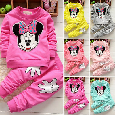 Baby Girl Minnie Mouse Long Sleeve Tops T-shirt+ Pants 2Pcs Outfits Set Clothes