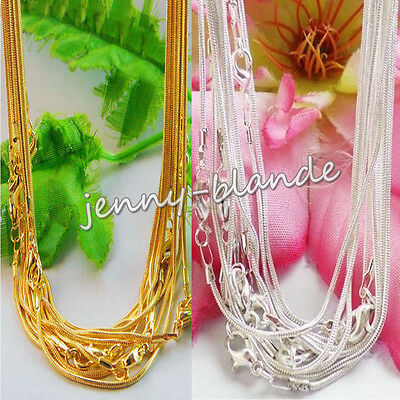 5Pcs Copper Silver Gold Plated Snake Chain Clasp Jewelry Findings Necklace 43cm