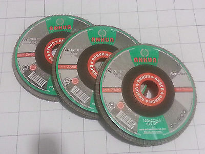 NEW ANHUA 3x FLAP DISC WHEELS  FOR METAL SANDING /GRINDING 125 mm x 22mm x 5mm