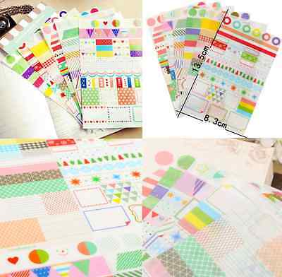 6pcs/SET Transparent Calendar Scrapbook Diary Book Decor Paper Planner Sticker S