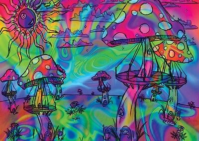 """Psychedelic Trippy Art Fabric poster 32"""" x 24"""" Decor 37"""