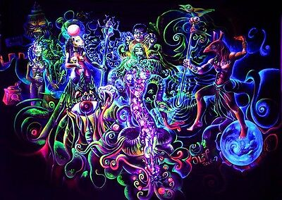 """Psychedelic Trippy Art Fabric poster 17"""" x 13"""" Decor 55"""