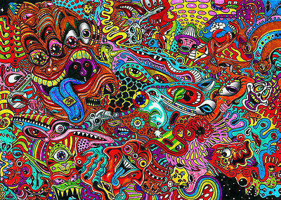 "Psychedelic Trippy Art Fabric poster 20"" x13"" Decor 09"