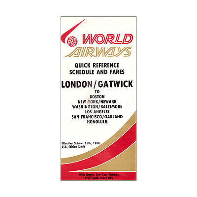 World Airways - Airline Timetable - 26 October 1980 - London Gatwick