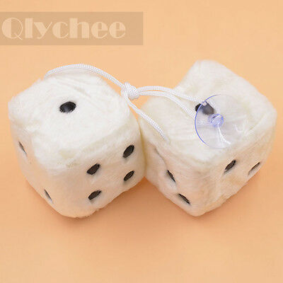7cm Fuzzy Dice Car Mirror Hanging String Black Dots Cute Christmas Gift White