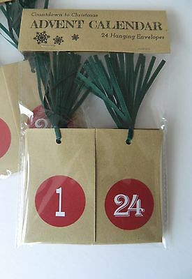 Christmas Countdown Advent Calendar Number Stickers or Hanging Envelopes ~ Red