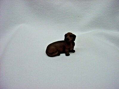 DACHSHUND brown puppy TiNY DOG Figurine HAND PAINTED MINIATURE Statue Doxie